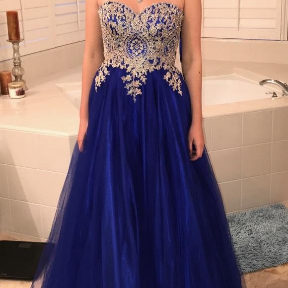 Dresses Blue And Gold Cinderella Prom Formal Dress Poshmark